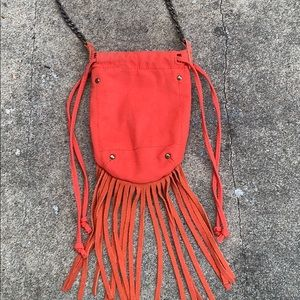 American Eagle small orange fringed crossbody bag